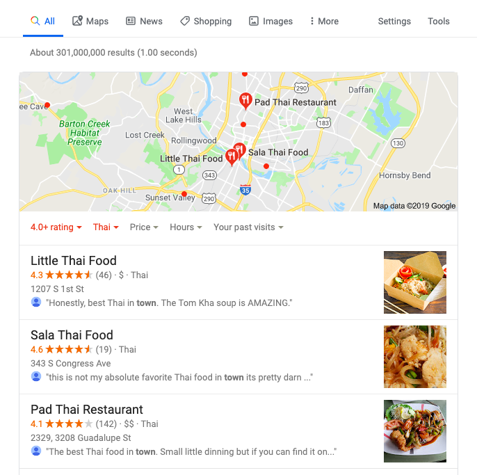 Google local pack search results for