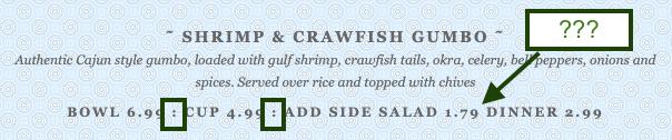restaurant copywriting mistake