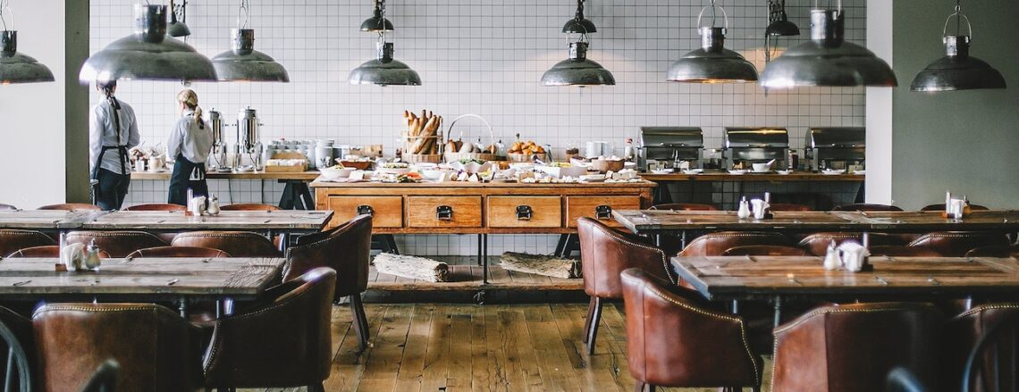 large restaurant with wood furniture
