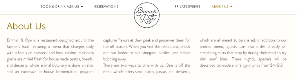 Restaurant About Us Page