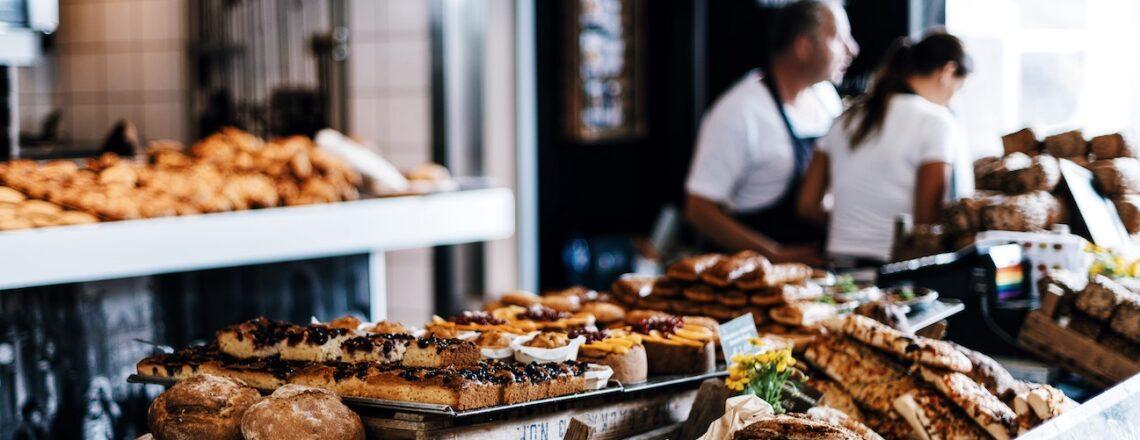 heaps of bread in a bakery