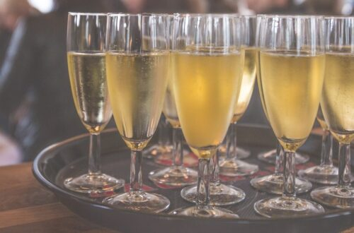 tray of champagne at a private event