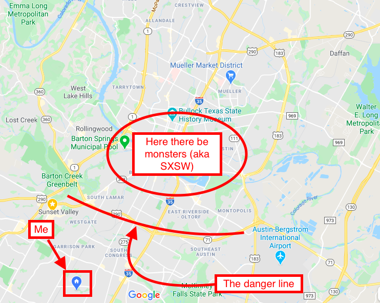 Map of where to avoid during SXSW