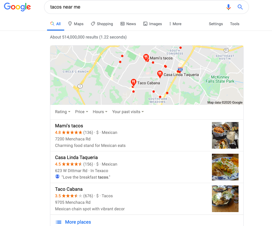 """Google Local Pack for search """"Tacos near me"""""""