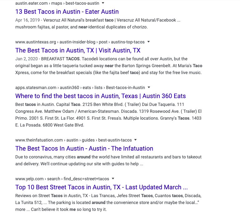 """search results for """"best tacos in Austin"""" showing no restaurant results"""