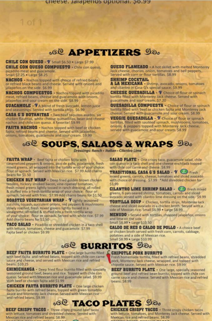 PDF restaurant menu