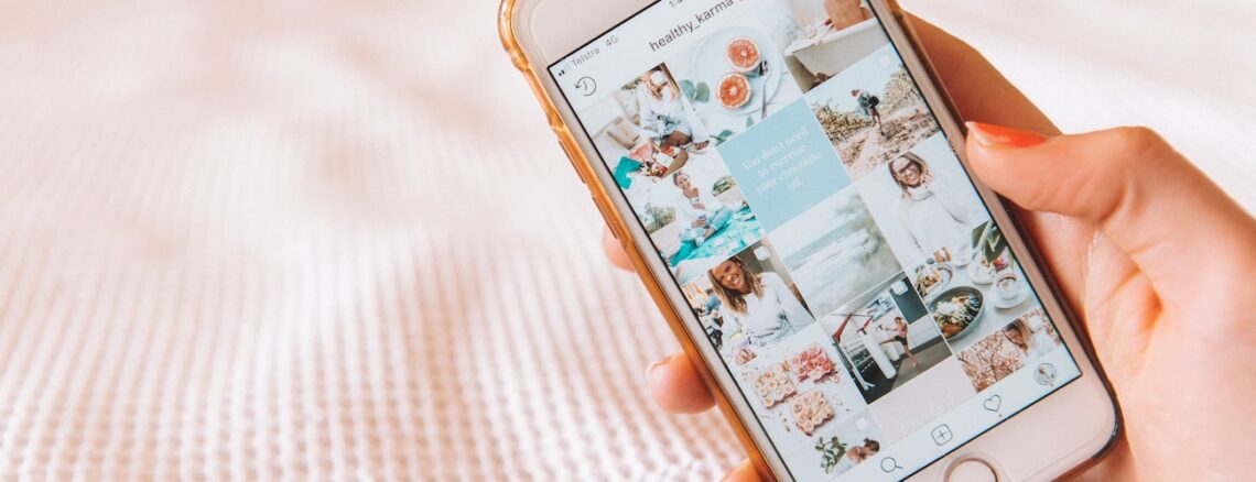 Instagram photo feed on pink background