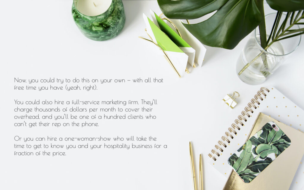 greenery on a white table with description of a blog writing service