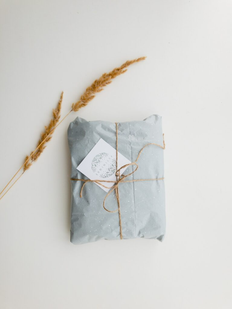 package wrapped in light blue paper