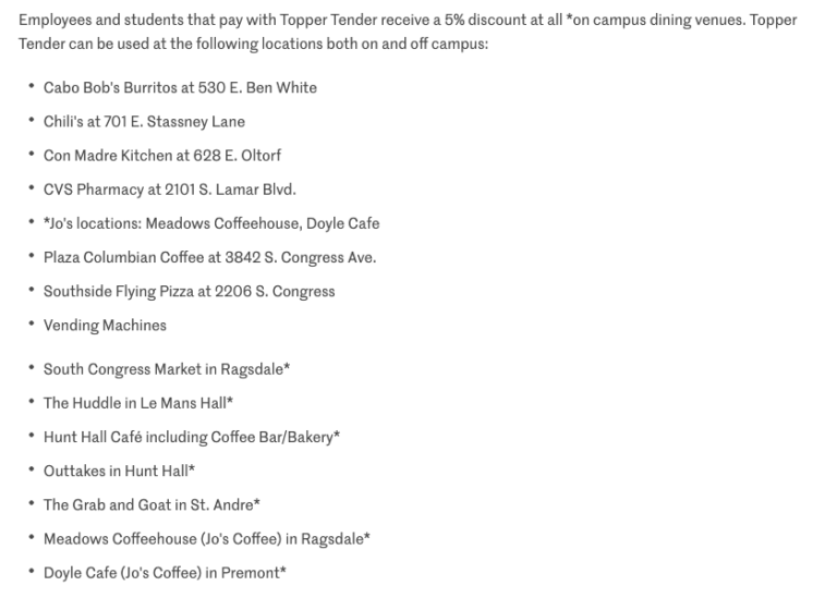 list of nearby restaurants from St. Edward's University