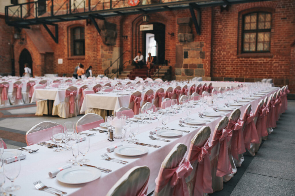 include table and chair details in your event venue brochure