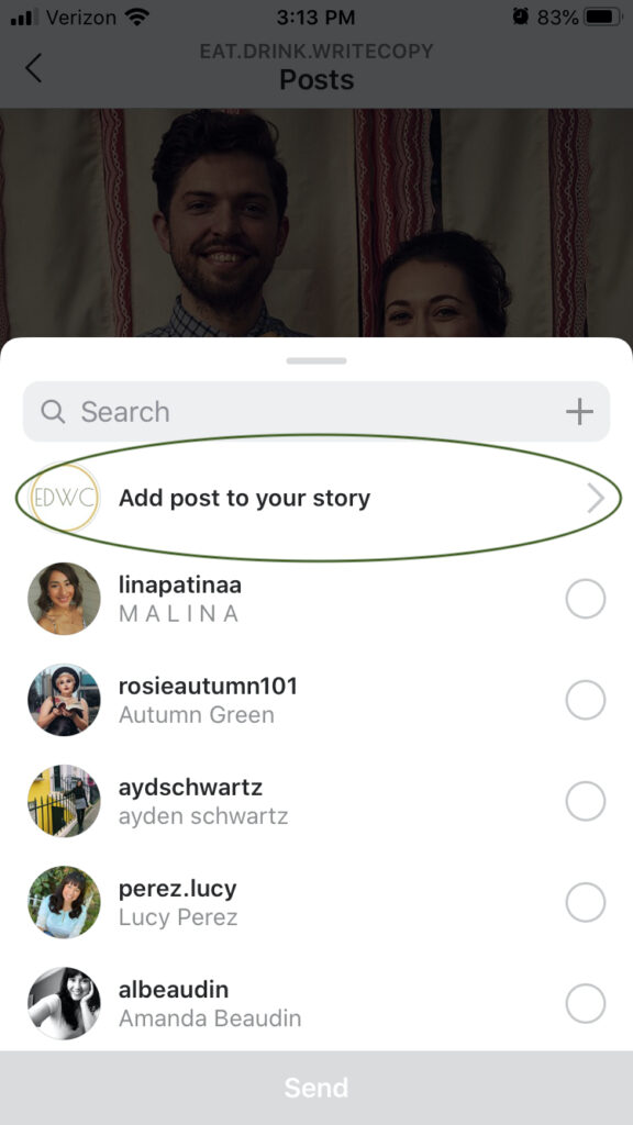 Instagram screenshot to add post to stories