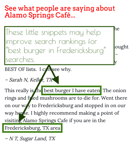 Two restaurant reviews embedded on a local restaurant website