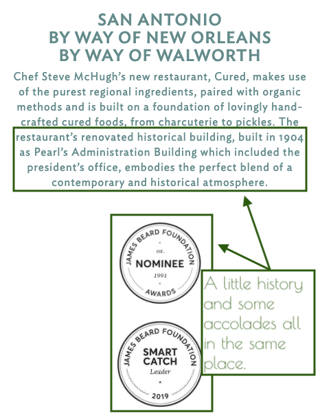 A few lines of local history and James Beard nomination badges on the Cured website