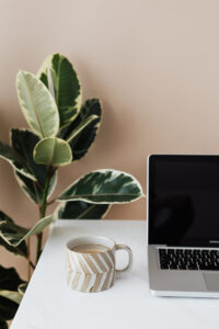 laptop on white table with coffee mug and large plant