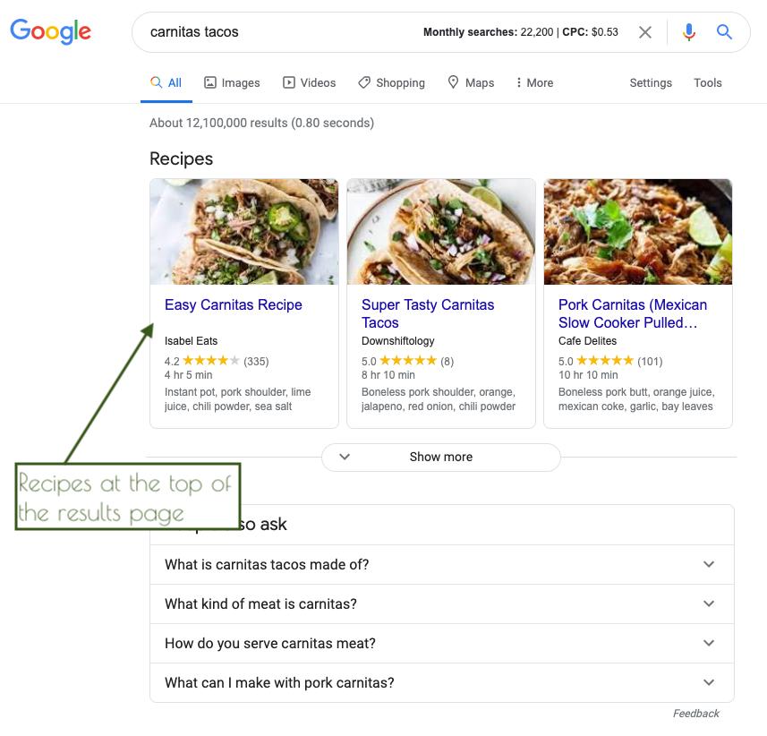 SERP result showing recipe block for carnitas tacos