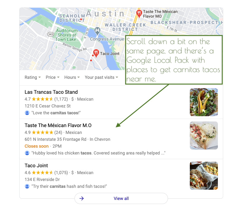SERP results page showing Google local pack for Carnitas tacos in Austin