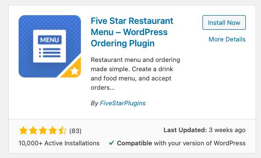 wordpress plugin for restaurants - Five Star Restaurant menu