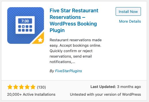 Five Star Restaurant Reservations plugin