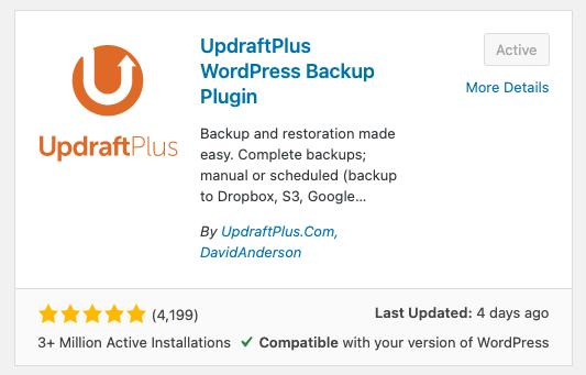 UpdraftPlus plugin