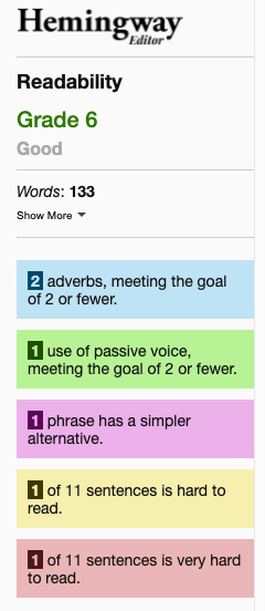 Hemingway Editor screenshot showing reading score, number of adverbs, usage of passive voice, and hard to read sentences.