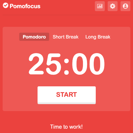 Pomofocus timer with a 25-minute writing session ready to go